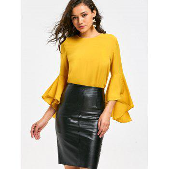 Flare Sleeve Blouse with Flounce - YELLOW 2XL