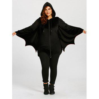 Plus Size Zip Up Bat Wings Hoodie