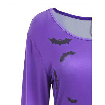 Pumpkin Bat Print Long Sleeve Halloween Swing Dress - PURPLE XL