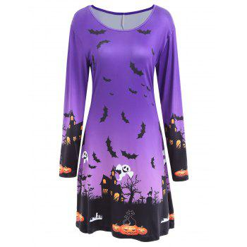 Pumpkin Bat Print Long Sleeve Halloween Swing Dress - PURPLE 2XL