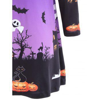 Pumpkin Bat Print Long Sleeve Halloween Swing Dress - 2XL 2XL