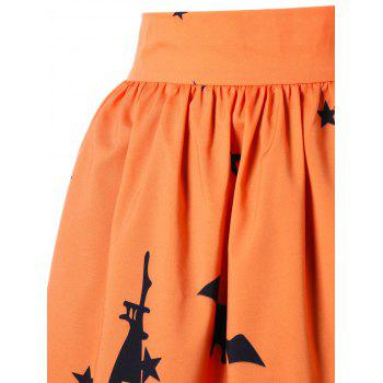 Halloween Graphic A-line Skirt - ORANGE ORANGE