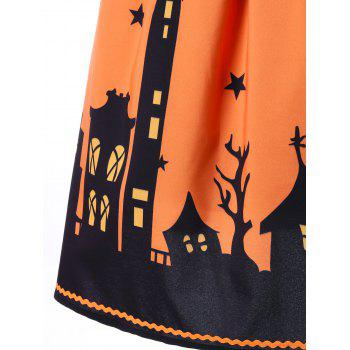 Jupe A-ligne graphique Halloween - Orange L