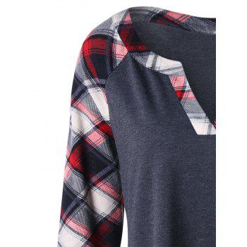 Plus Size Raglan Sleeve Plaid Top - BLACK GREY 4XL