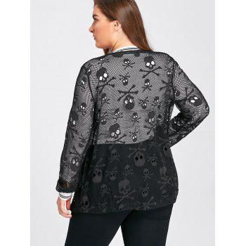 Plus Size Skull Openwork Collarless Jacket - BLACK XL
