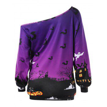 Sweat-shirt Grande Taille Halloween Encolure Cloutée - Pourpre XL
