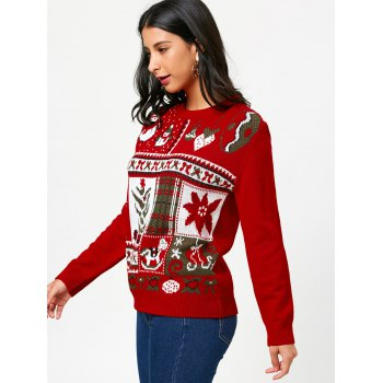 Christmas Pullover Sweater with Cartoon Ornamentation Pattern - RED ONE SIZE