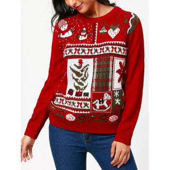 Christmas Pullover Sweater with Cartoon Ornamentation Pattern - RED RED