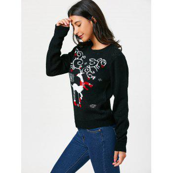 Pullover Sweater with Christmas Reindeer Pattern - BLACK BLACK