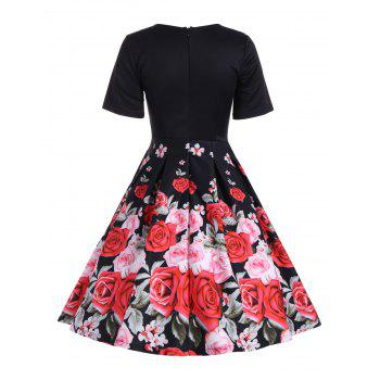 Floral A Line Short Sleeve Vintage Dress - BLACK XL