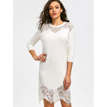 Lace Insert Mini Knit Bodycon Dress - Blanc 2XL