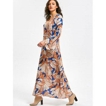 Long Flared Sleeve Plant Print Maxi Dress - FLORAL 2XL