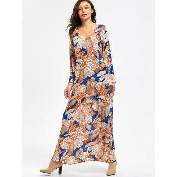 Long Flared Sleeve Plant Print Maxi Dress - L L