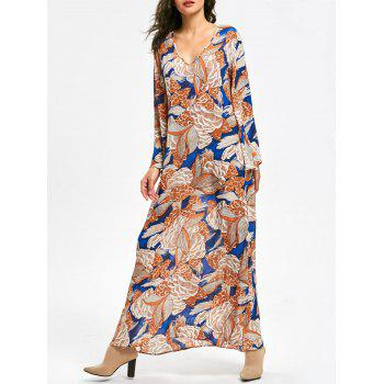 Long Flared Sleeve Plant Print Maxi Dress - FLORAL L