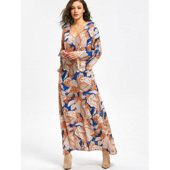 Long Flared Sleeve Plant Print Maxi Dress - XL XL