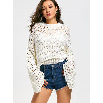 Flared Sleeve Drop Shoulder Crochet Crop Sweater - WHITE WHITE