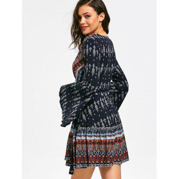Long Flare Sleeve Bohemia Print Surplice Dress - M M