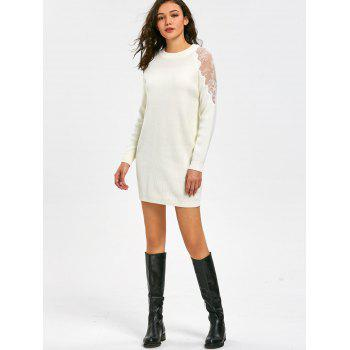 Long Sleeve Lace Panel Short Sweater Dress - WHITE M