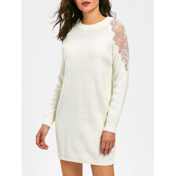 Long Sleeve Lace Panel Short Sweater Dress - WHITE XL