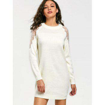 Long Sleeve Lace Panel Short Sweater Dress - XL XL