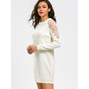 Long Sleeve Lace Panel Short Sweater Dress - WHITE 2XL