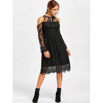 Halloween Cold Shoulder Flare Dress - BLACK 2XL