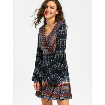 Long Flare Sleeve Bohemia Print Surplice Dress - COLORMIX L