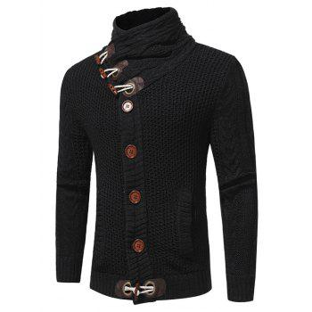 Cowl Neck Single Breasted Horn Button Cardigan - BLACK BLACK
