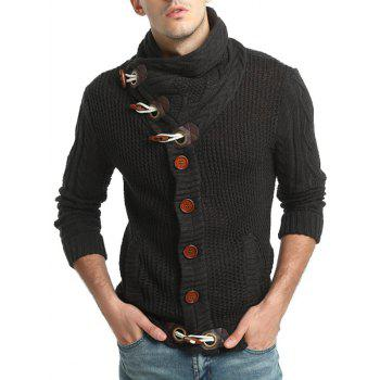 Cowl Neck Single Breasted Horn Button Cardigan - DEEP GRAY DEEP GRAY