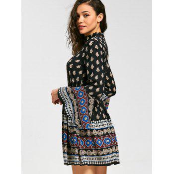 Flared Sleeve Bohemia Print Mini Choker Dress - 2XL 2XL