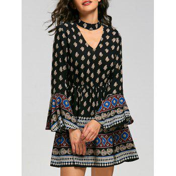 Flared Sleeve Bohemia Print Mini Choker Dress - BLACK 2XL