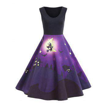 Halloween Bat Castle Vintage A Line Dress - PURPLE PURPLE