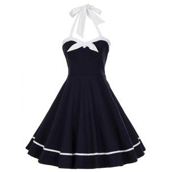 Vintage Halter Bowknot Backless Swing Dress - PURPLISH BLUE PURPLISH BLUE