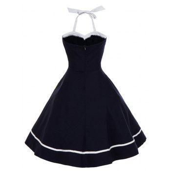 Vintage Halter Bowknot Backless Swing Dress - PURPLISH BLUE L