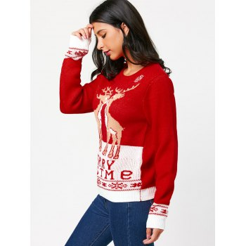 Christmas Pullover Sweater with Little Fawn Kiss Pattern - RED RED