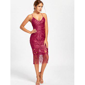Lace Backless Fringe Cami Dress - RED RED