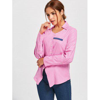 Turndown Collar Asymmetric Shirt - PINK PINK
