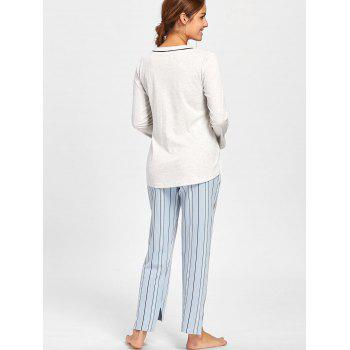 V Neck PJ Tee with Striped Pants - LIGHT GRAY LIGHT GRAY