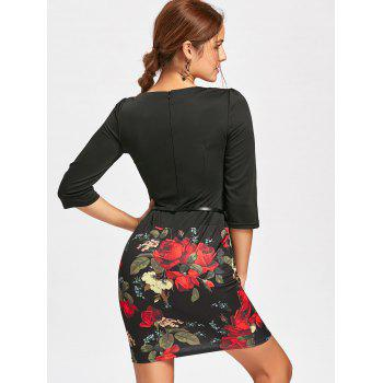Flower Print Bodycon Faux Two-piece Dress - BLACK BLACK