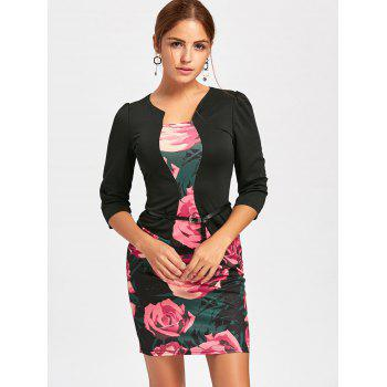 Rose Printed Faux Two-piece Bodycon Dress - BLACK BLACK