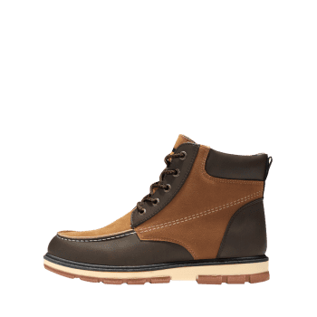 Color Block Moc Toe Ankle Boots - BROWN 45