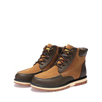 Color Block Moc Toe Ankle Boots - BROWN BROWN
