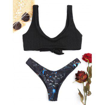 Scoop Neck Knitted Print Bikini Set - BLACK BLACK