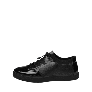 Tie Up Low Top Bright Color Casual Shoes - BLACK 40