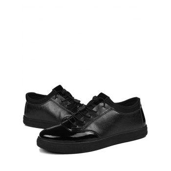 Tie Up Low Top Bright Color Casual Shoes - BLACK BLACK