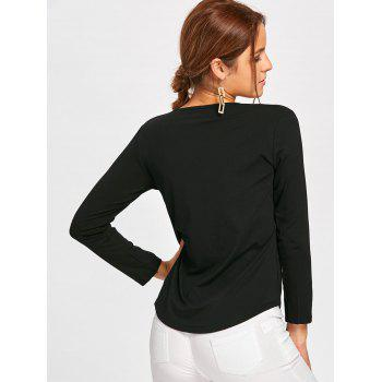 Plunge Lace Up Long Sleeve Tee - BLACK BLACK