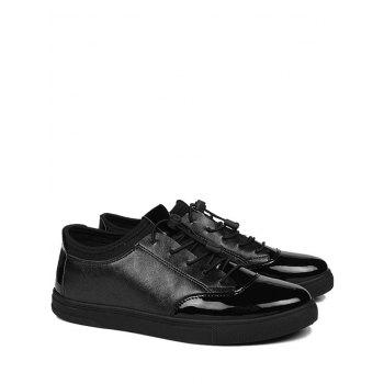 Tie Up Low Top Bright Color Casual Shoes - BLACK 43