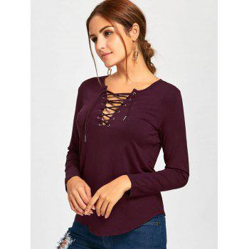 Plunge Lace Up Long Sleeve Tee - WINE RED WINE RED