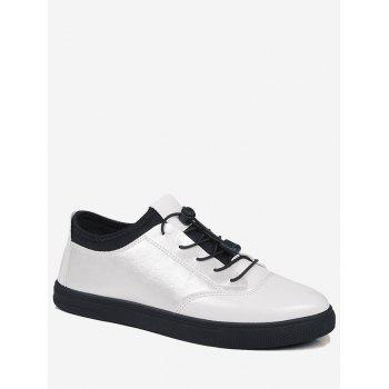 Tie Up Low Top Bright Color Casual Shoes - WHITE WHITE