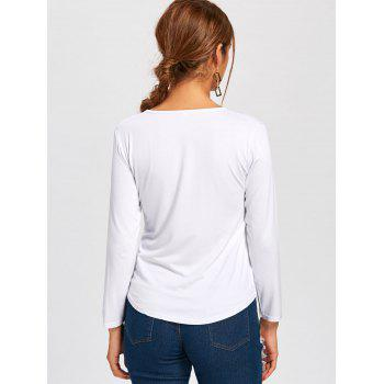 Plunge Lace Up Long Sleeve Tee - WHITE WHITE